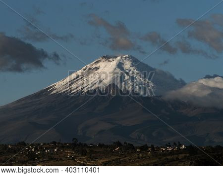 Panorama View Of Stratovolcano Cotopaxi White Snow Capped Volcanic Mountain Seen From Latacunga Ecua