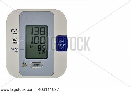 Digital Blood Pressure Monitor. Upper Arm Blood Pressure Monitor At Home, With High Indicators Of Bl