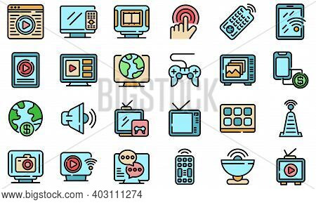 Interactive Tv Icons Set. Outline Set Of Interactive Tv Vector Icons Thin Line Color Flat On White