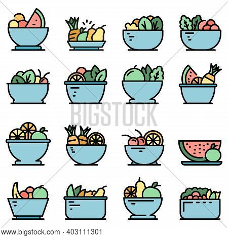 Fruit Salad Icons Set. Outline Set Of Fruit Salad Vector Icons Thin Line Color Flat On White