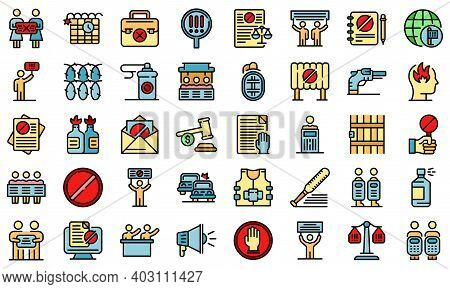 Disobedient Icons Set. Outline Set Of Disobedient Vector Icons Thin Line Color Flat On White