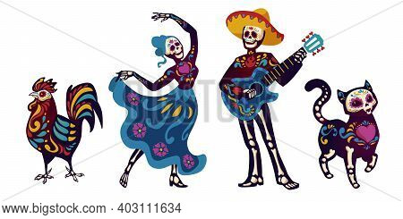 Day Of The Dead, Dia De Los Muertos Characters Dancing Catrina Or Mariachi Musician, Cat And Cock Sk