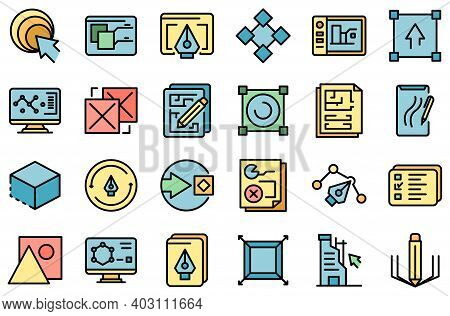 Redesign Icons Set. Outline Set Of Redesign Vector Icons Thin Line Color Flat On White