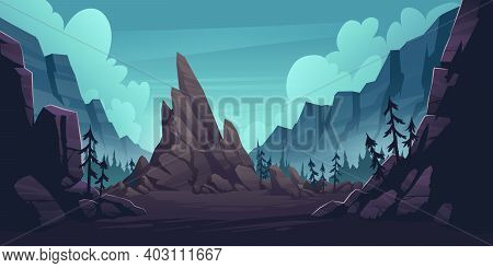 Mountain Landscape With Forest And Lonely Cliff. Vector Cartoon Illustration Of Canyon With Rocks An