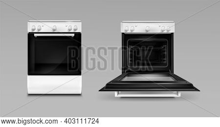 Oven, Electric Kitchen Appliances, Open Or Closed Stove Of White Color Front View. Household Technic