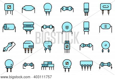 Resistor Icons Set. Outline Set Of Resistor Vector Icons Thin Line Color Flat On White