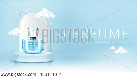 Perfume Spray Bottle On Podium With Clouds In Sky Mock Up Banner. Glass Flask Mockup On Blue Heaven