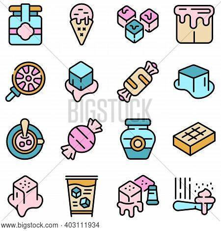 Salted Caramel Icons Set. Outline Set Of Salted Caramel Vector Icons Thin Line Color Flat On White