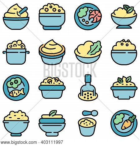Mashed Potatoes Icons Set. Outline Set Of Mashed Potatoes Vector Icons Thin Line Color Flat On White