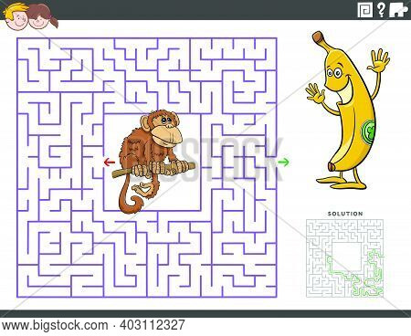 Cartoon Illustration Of Educational Maze Puzzle Game For Children With Funny Monkey And Banana