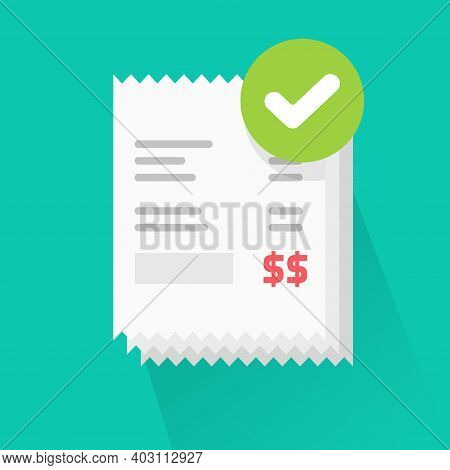Success Verified Paid Bills Receipts With Approved Check Mark Notice On Invoice Vector Flat Cartoon