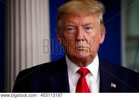 Washington Dc, United States, November 2020,us President Donald Trump In Serious Look