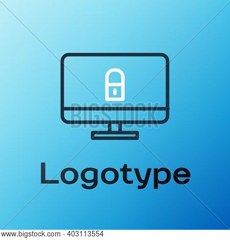 Line Lock On Computer Monitor Screen Icon Isolated On Blue Background. Security, Safety, Protection