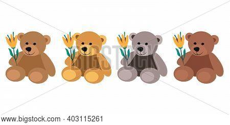 Teddy Bear Set Flat Vector Illustration. Teddy Bears Holding Flowers Valentines Day Illustration. Se