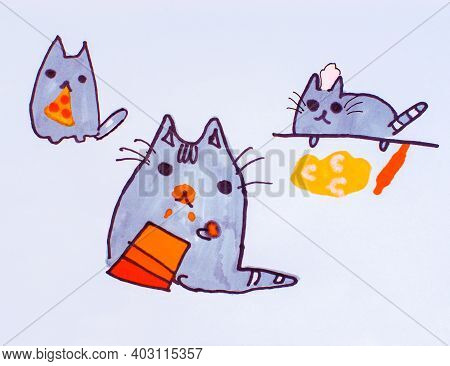 Illustration, Child's Drawing Of Cats.background Of Cartoon Cats.close-up Children's Paint Cat To Ba