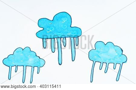 Illustration, Child's Drawing Of Blue Clouds. Background On A Theme Of Weather.blue Sky, Clouds.draw