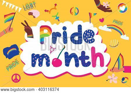 Pride Month Lettering With Stickers.pride Parade,gay Demonstration.lgbtq Concept And Symbols Raibow