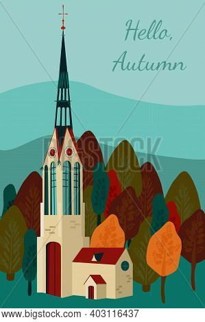 Cute Autumn Flat Vector Illustration With Gothic Church And Clock Tower.leaf Fall Is Coming,crimson