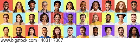 Range Of Multiethnic Real People Portraits In Collage Smiling And Posing Over Different Pastel Color