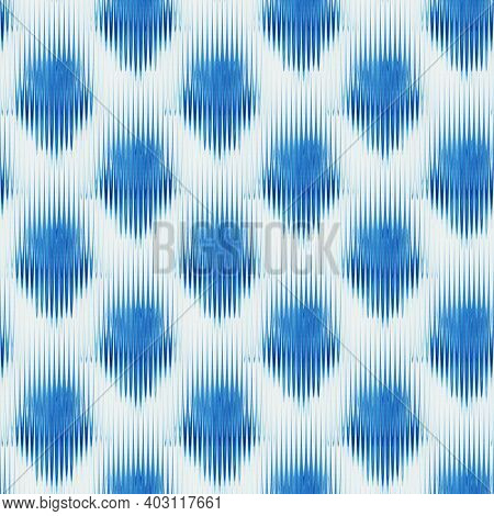 Seamless Ikat Pattern Of Indigo Colors. Abstract  Background For Textile Design, Wallpaper, Surface