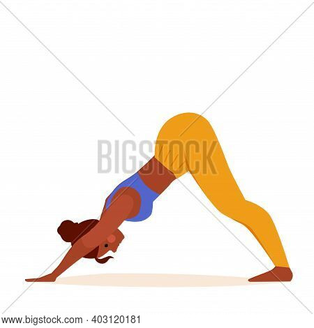 Yoga Girl In Down Dog Pose Exercising On Mat. Vector Drawing Of A Fitness Woman In Downward Facing P