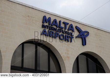 Gudja, Malta - October 19, 2020: Front View Of The Sign