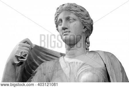 Ancient white marble sculpture bust of Hygieia. Goddess of good health, cleanliness, and sanitation. Statue of woman isolated on white