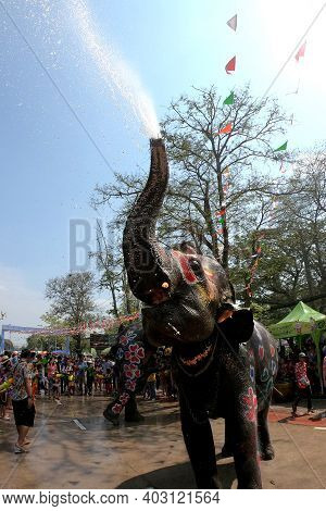 Ayutthaya, Thailand - April 14, 2019: Young Elephant Splashing With Water Fun. Young Elephants Have