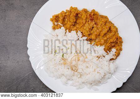 Lentil Dhal With Rice. Healthy Vegetarian Food.