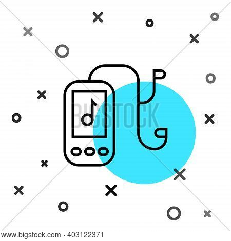 Black Line Music Player Icon Isolated On White Background. Portable Music Device. Random Dynamic Sha