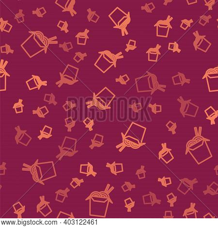 Brown Line Asian Noodles In Paper Box And Chopsticks Icon Isolated Seamless Pattern On Red Backgroun