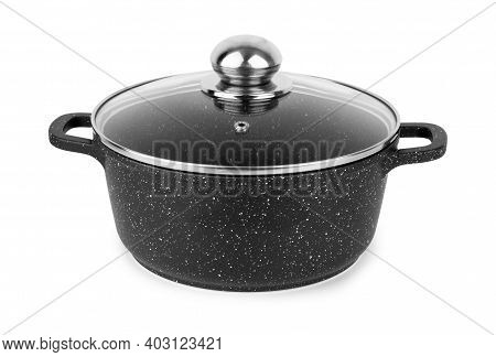 Stainless Steel Pot Non-stick, White Background Handles, Stockpot, Shiny, Kitchen, Utensil, Cooking,