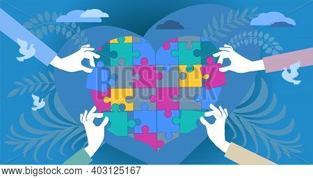 Abstract Vector Illustration. Human Hands Of Caring People, Stretching Out Puzzle Pieces To Join The