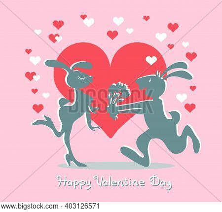 Vector Illustration With An Inscription. Valentine Design. Funny Silhouettes Of Two Enamored Rabbits