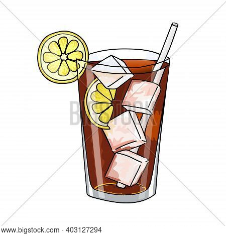 Glass Of Long Island Ice Tea Cocktail, Ice Cubes And Lemon Slice. Hand Drawing Alcohol Cocktail. Ill