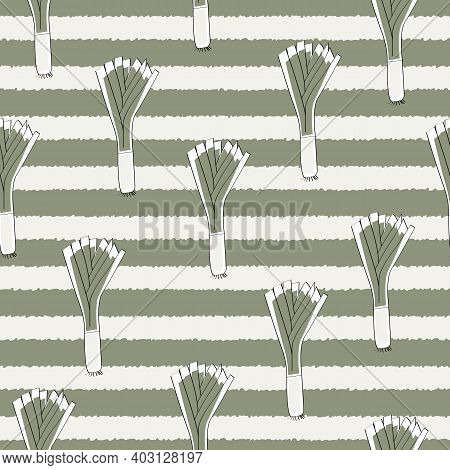Vector Vegetables Leeks On White And Green Stripes Seamless Repeat Pattern. Background For Textiles,