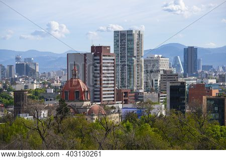 Modern Buildings On Avenue Paseo De La Reforma Aerial View In Mexico City Cdmx, Mexico.