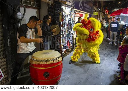Mexico City - Jan. 17, 2020: Lion Dance In Chinatown Barrio Chino On Dolores Street In Historic Cent