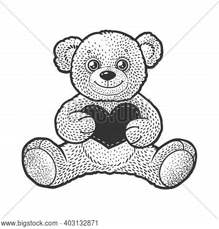 Teddy Bear Toy Wirh Heart Valentine Day Gift Sketch Engraving Vector Illustration. T-shirt Apparel P