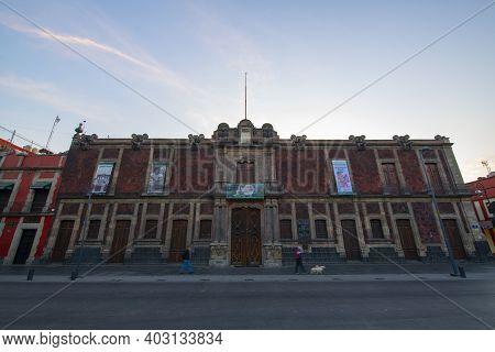 Mexico City - Jan. 18, 2020: Museo De La Ciudad De Mexico On Avenida Jose Maria Pino Suarez Avenue A