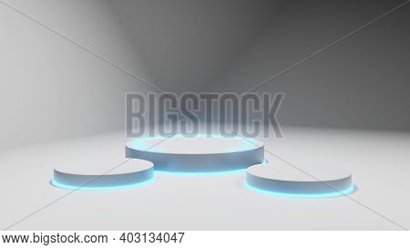 3d Rendering Model, White Fluorescent Abstract Rendering Stage Renderings.