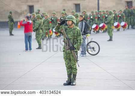 Mexico City - Jan. 18, 2020: Raising Flag Guard Of Honor Standing On Zocalo At Historic Center Of Me