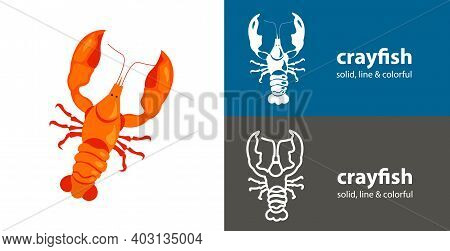 Crayfish Isolated Vector Icon. Sea Line Solid Flat Icon