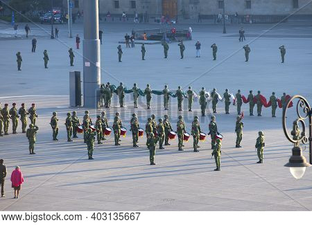 Mexico City - Jan. 14, 2020: Raising Flag Guard Of Honor Standing On Zocalo At Historic Center Of Me