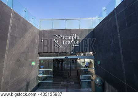 Mexico City - Jan. 14, 2020: Main Gate Of Aztec Ruin Templo Mayor Great Temple At Historic Center Of