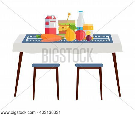 Table With Wholesome Natural Food, Healthy Meal Vegetables, Fruits, Isolated On White Background. Wo