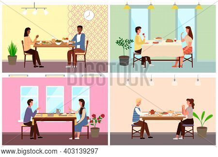 Set Of Illustrations On The Topic Of Couple Dine On Traditional Dishes From Different Countries. Peo
