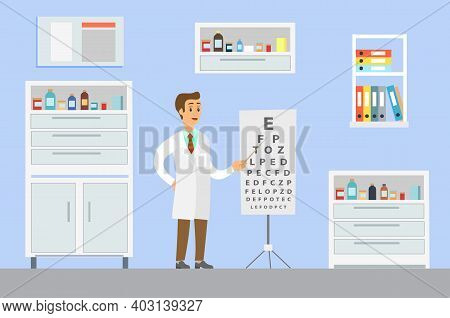 Optometrist Points To The Table For Testing Visual Acuity. A Doctor In A White Coat Is Conducting A