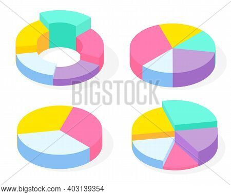 Collection 3d Pie Diagrams, Pie Charts. Isometric Infographics. Financial Strategy. Visual Presentat