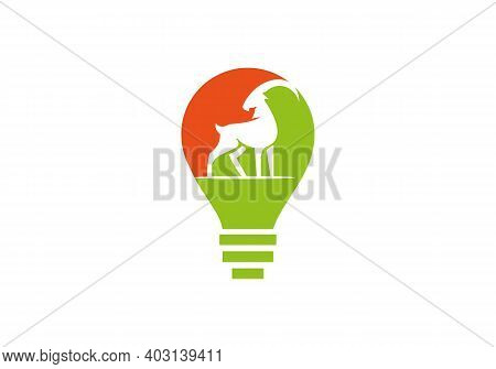 Goat Head Logo Vector. Goat Logo Design With Electric Bulb Concept. Stylized Silhouette Face Goat.